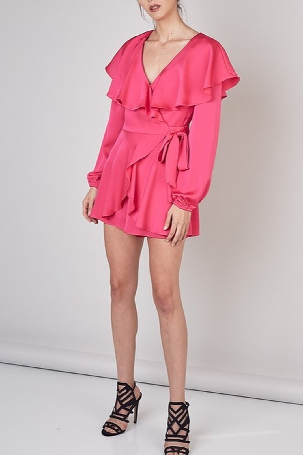 Do & Be Satin Wrap Romper - Back Cropped Image