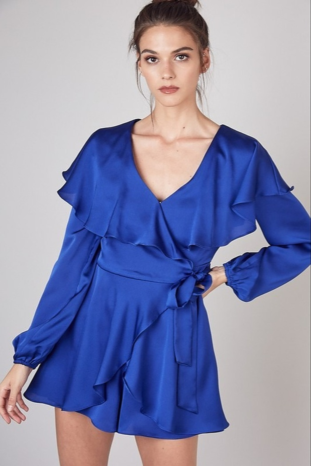 Do & Be Satin Wrap Romper - Front Cropped Image
