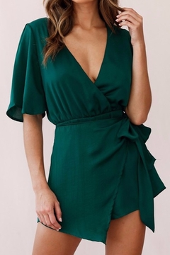 ONE AND ONLY COLLECTIVE Satin Wrap Skirt Surplice Romper - Product List Image