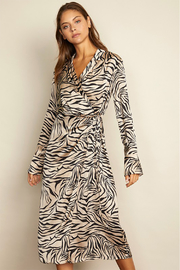 dress forum Satin Zebra Midi Wrap Dress - Product Mini Image