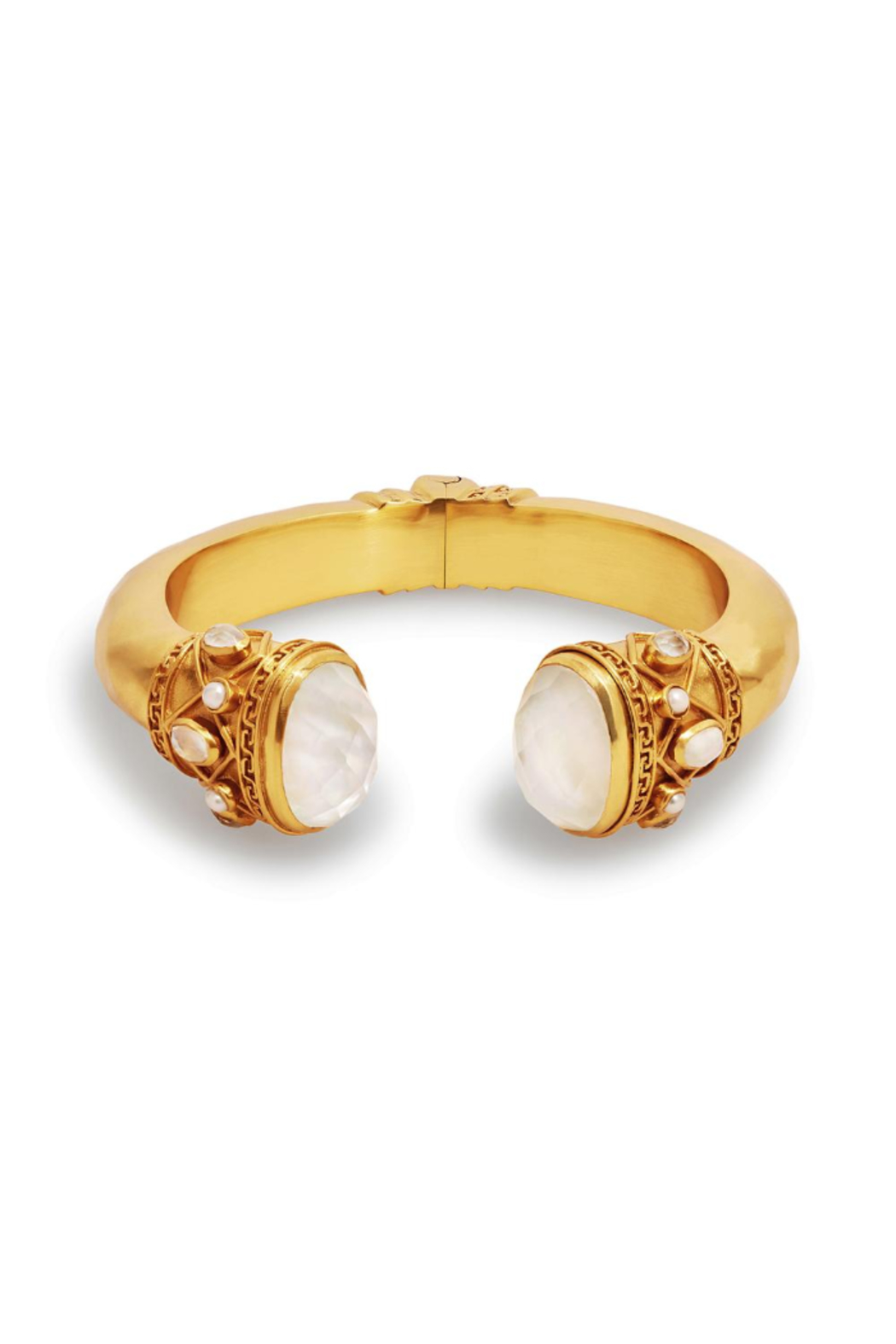 The Birds Nest Savannah Hinge Cuff Gold Iridescent Clear Crystal & Pearl Accents - Main Image