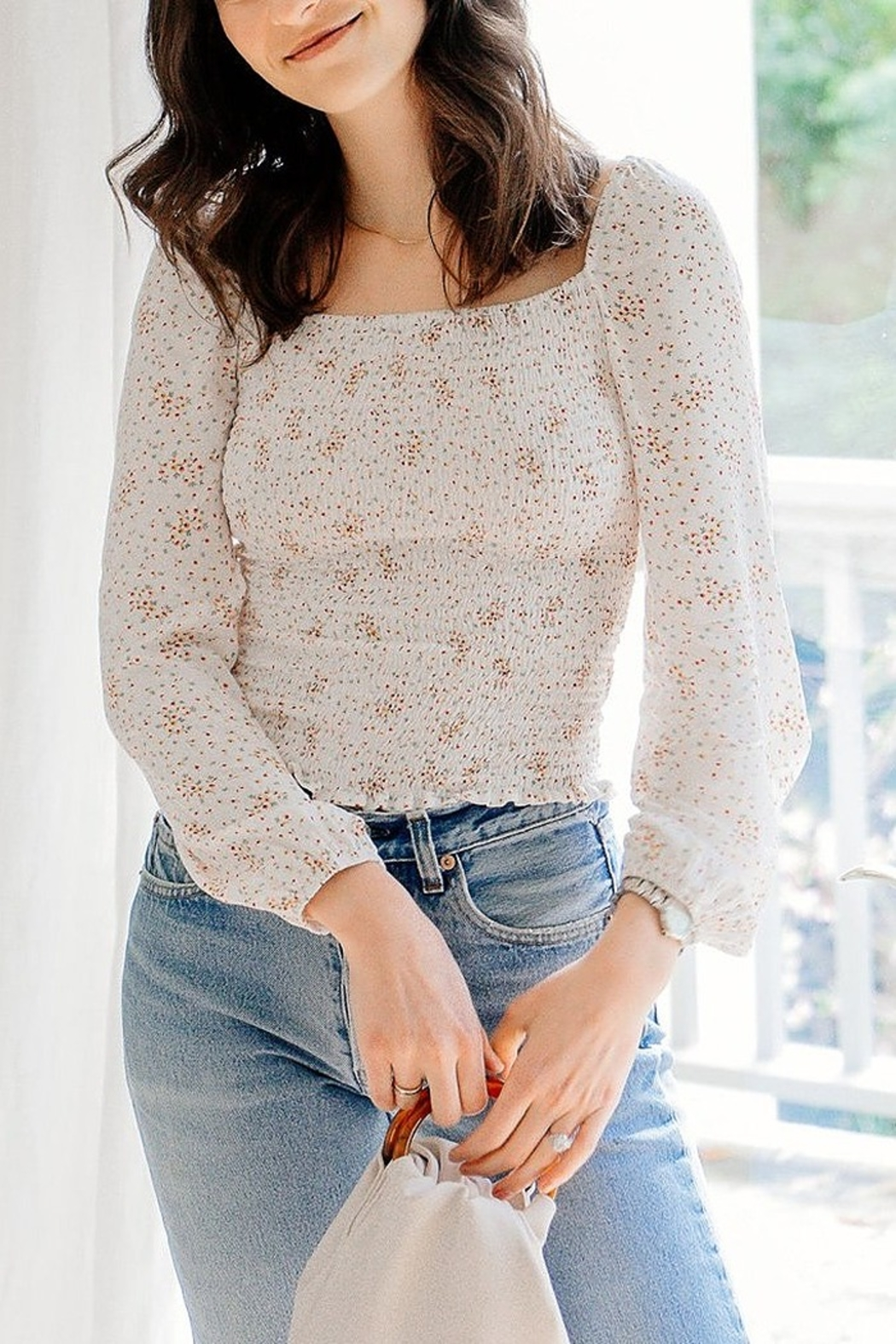 Cupcakes & Cashmere SAVANNAH SMOCK L/S TOP - Front Cropped Image