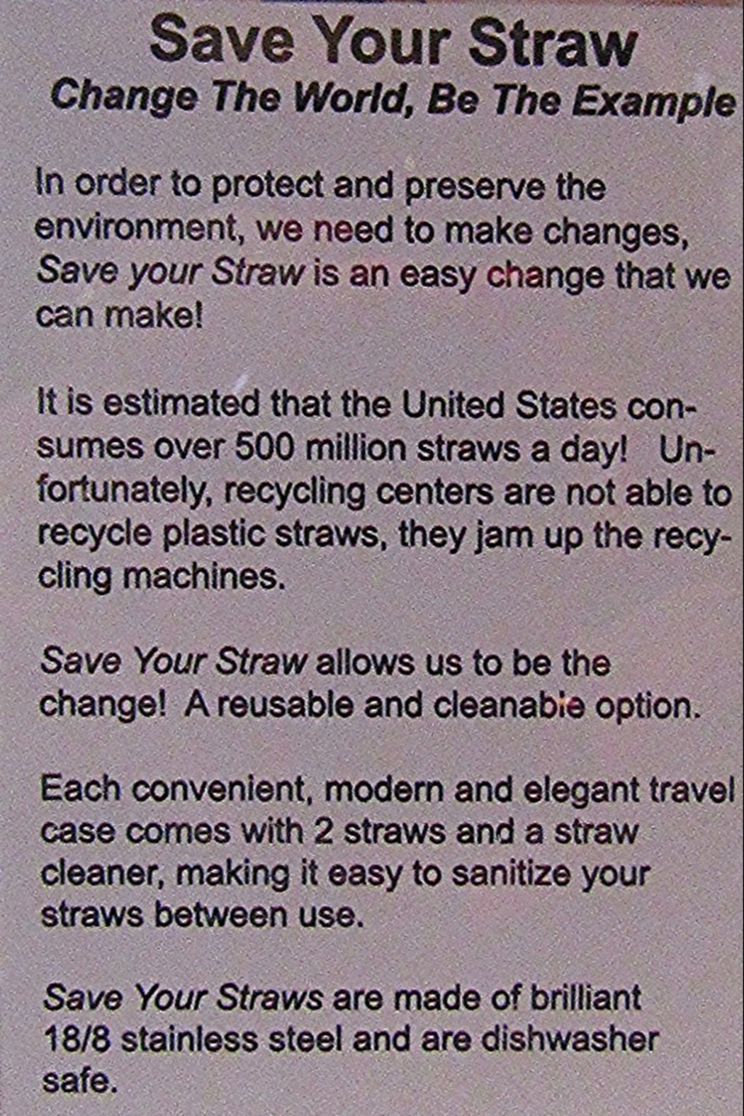 Save Your Straw SAVE YOUR STRAW - Side Cropped Image