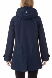 SAVE THE DUCK Buttondown Hooded Raincoat - Front full body
