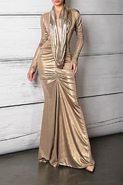 Savee Couture Metallic Cowl Neck Dress - Product Mini Image