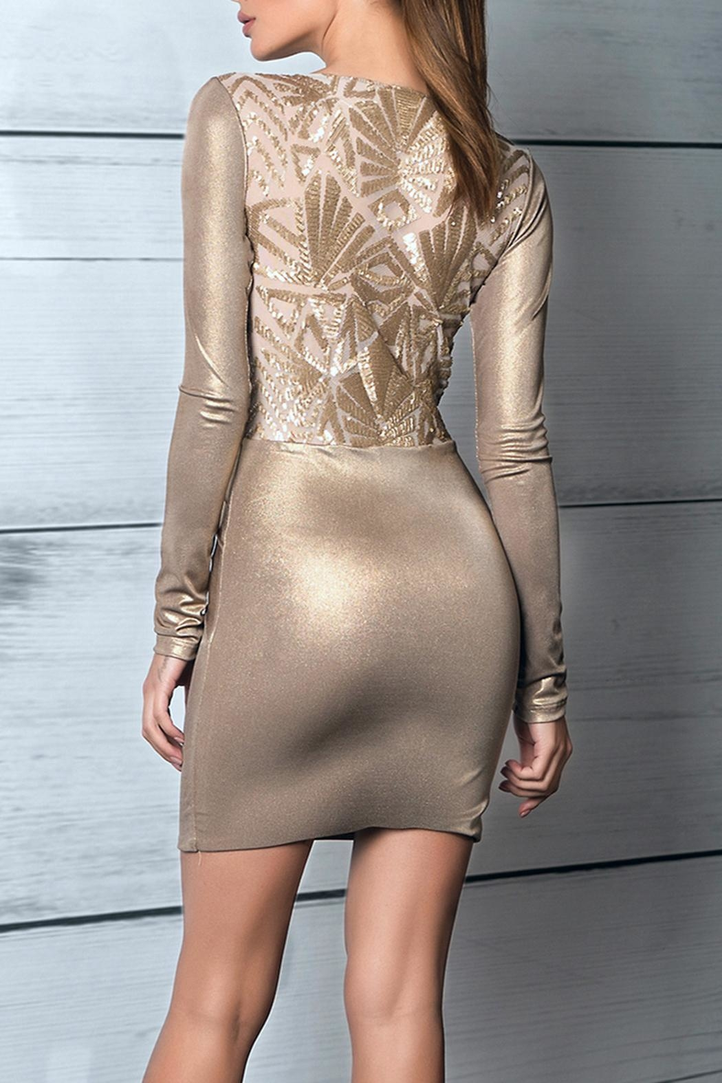 Savee Couture Metallic Knot Dress - Back Cropped Image