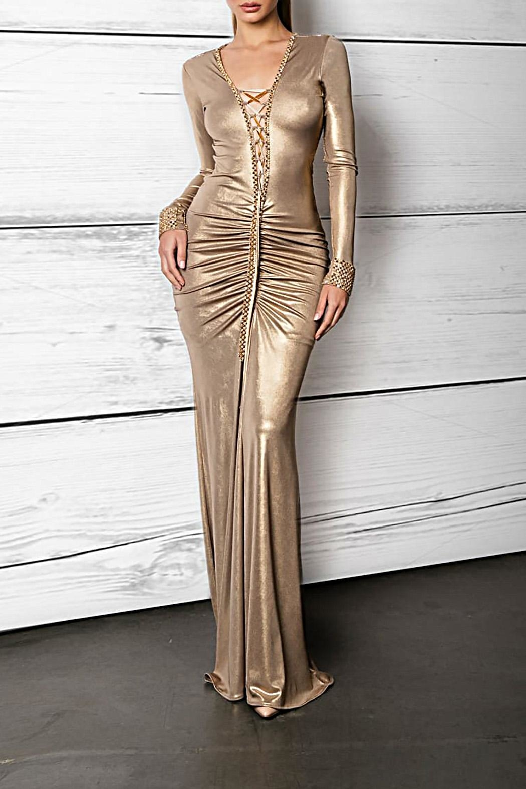 Savee Couture Metallic Lace Up Dress - Front Cropped Image