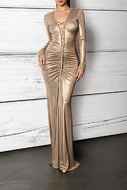 Savee Couture Metallic Lace Up Dress - Product Mini Image