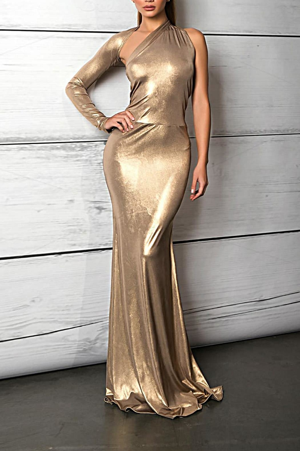 Savee Couture Metallic One Sleeve Dress - Main Image