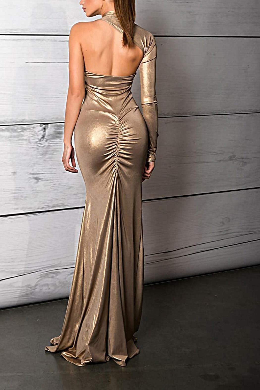 Savee Couture Metallic One Sleeve Dress - Front Full Image