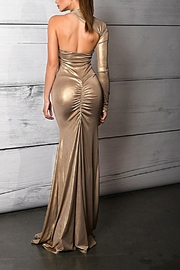 Savee Couture Metallic One Sleeve Dress - Front full body