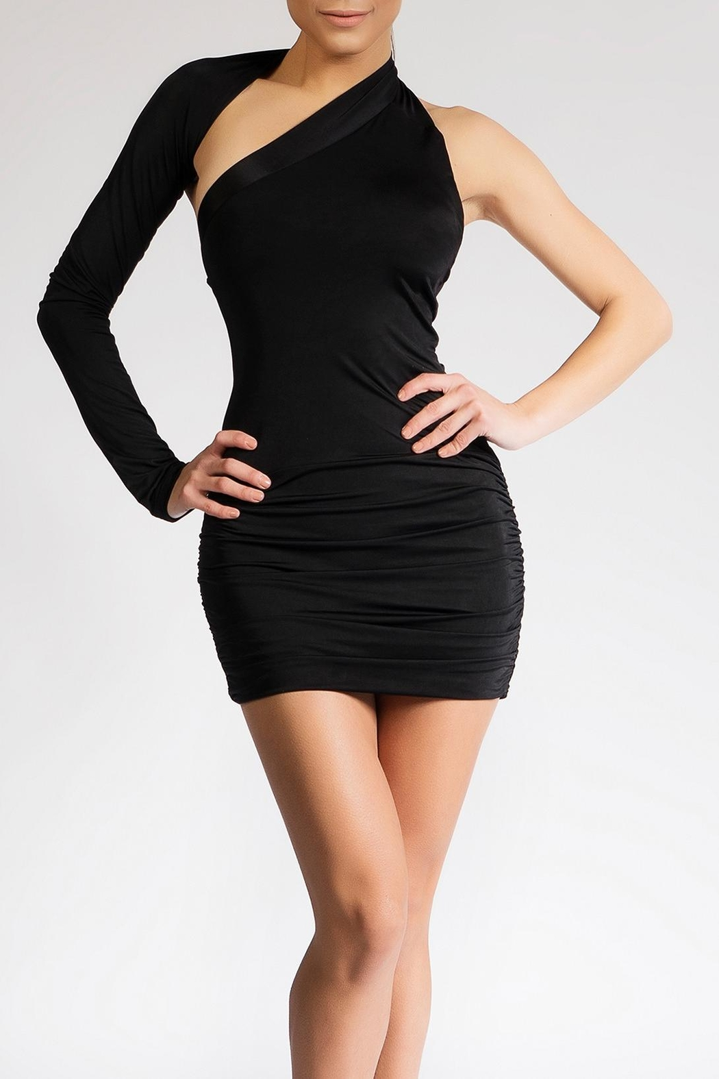 Savee Couture Black One Shoulder Dress - Main Image