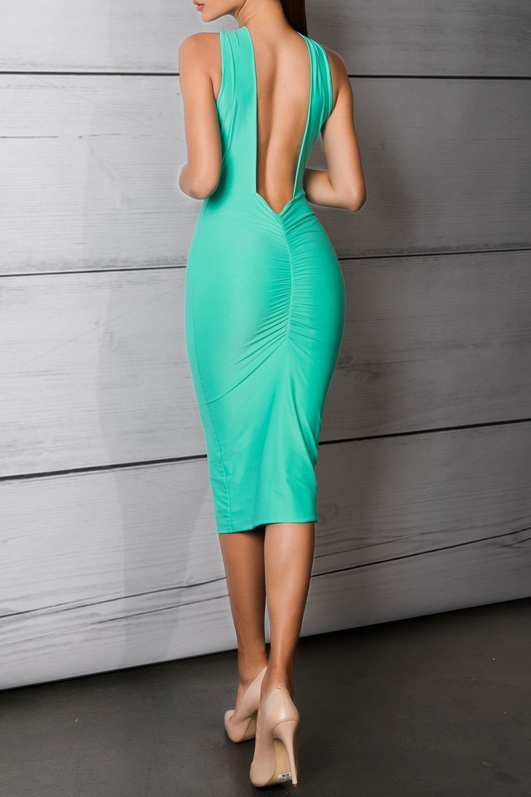 Savee Couture Green Cross Front Dress - Front Full Image