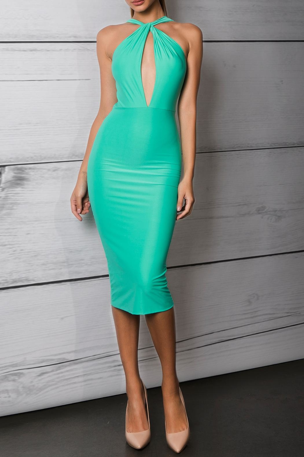 Savee Couture Green Cross Front Dress - Main Image