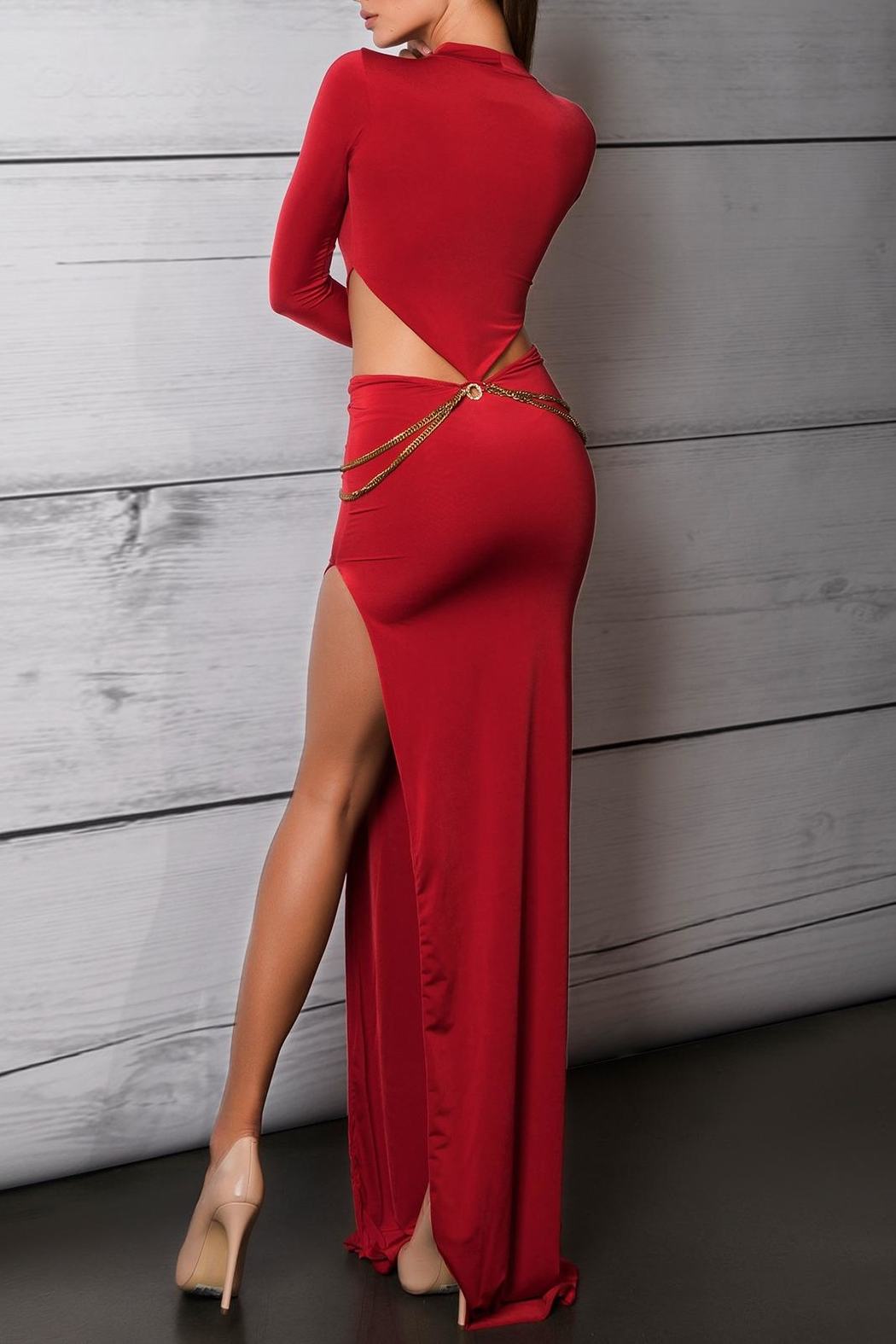 Savee Couture Red Cut Out Dress - Front Full Image