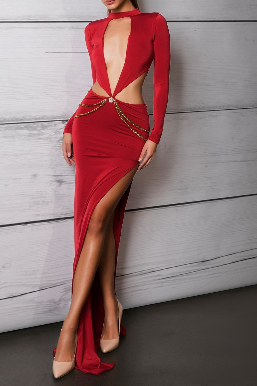 Savee Couture Red Cut Out Dress - Main Image