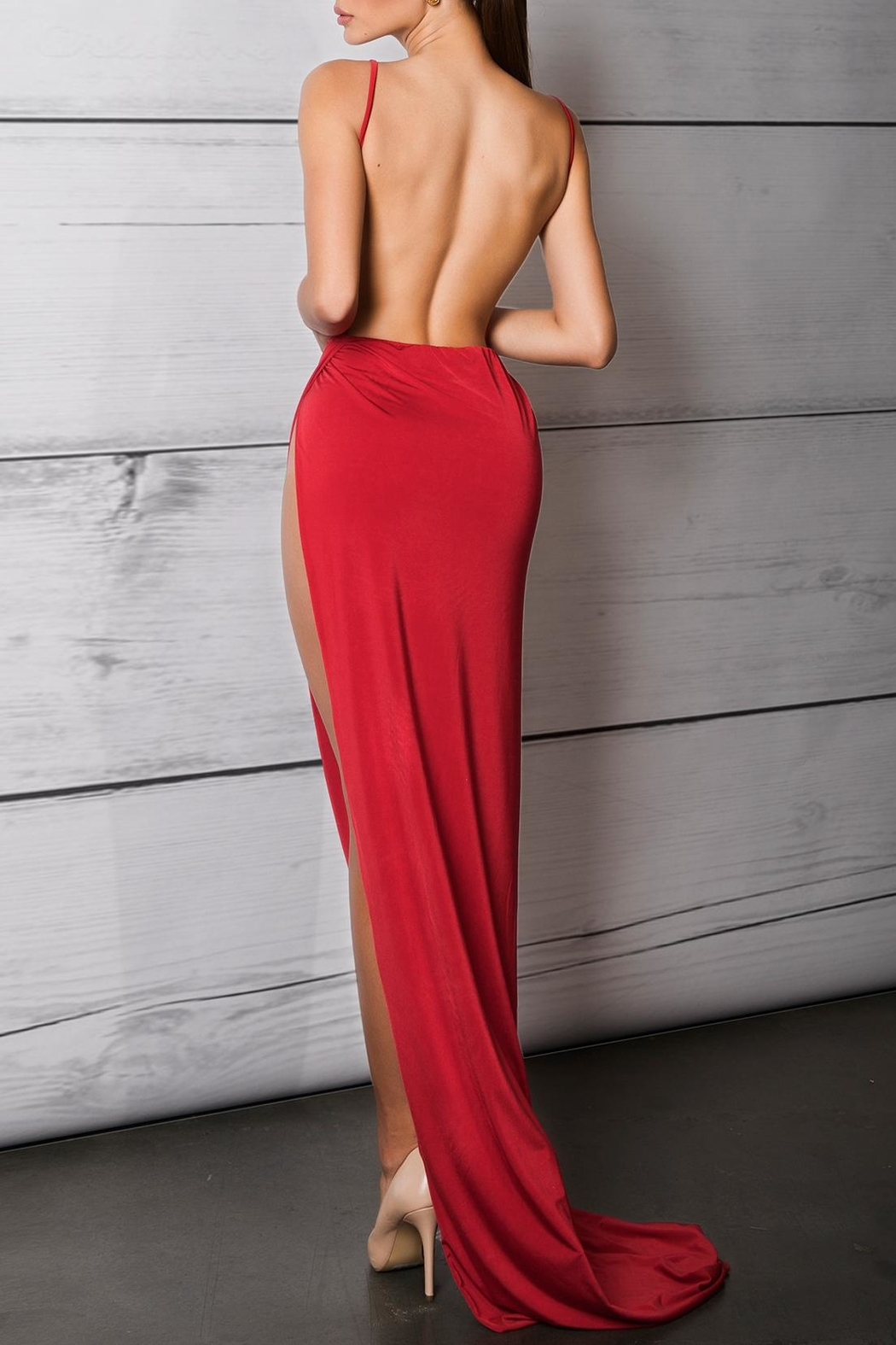 Savee Couture Savee High Slit Dress - Front Full Image