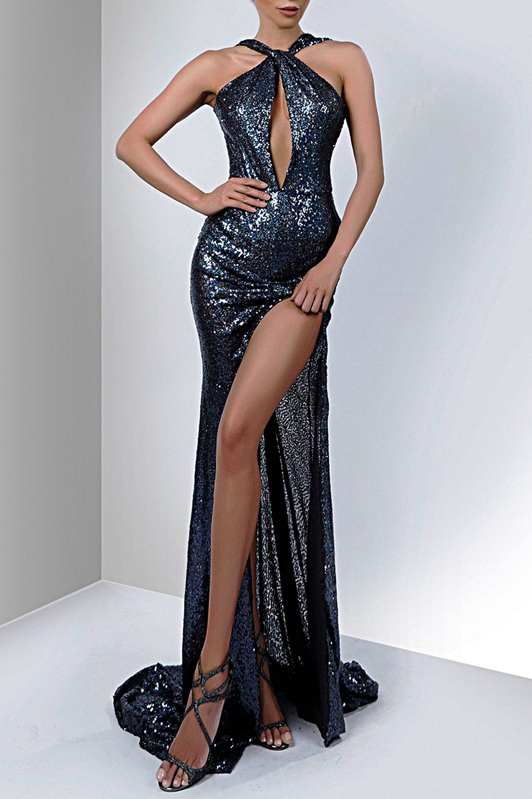 Savee Couture Savee Sequin Slit Dress - Front Cropped Image