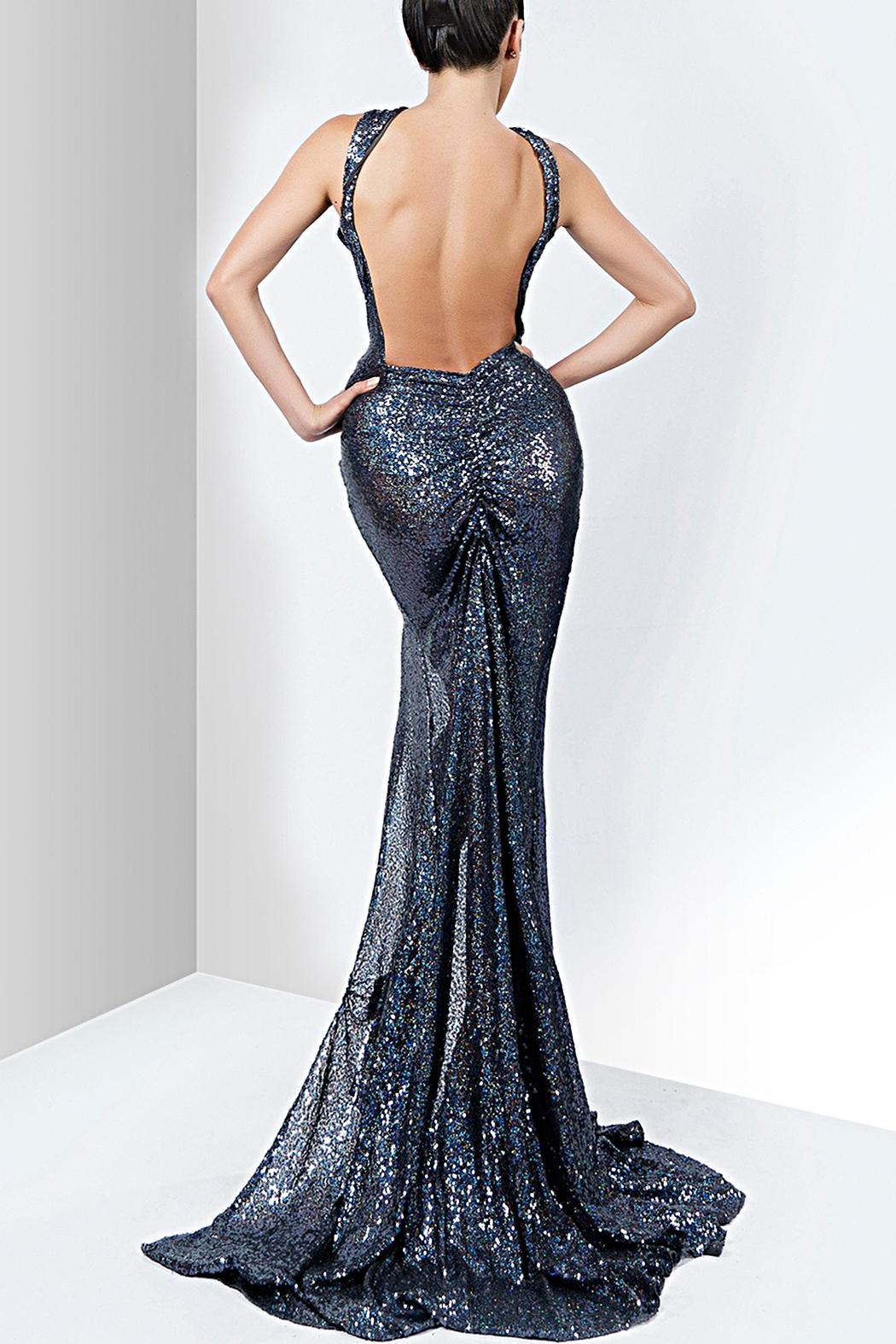 Savee Couture Savee Sequin Slit Dress - Front Full Image