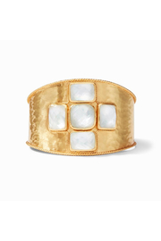 Julie Vos Savoy Cuff Gold Iridescent Clear Crystal - Front cropped