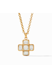 Julie Vos Savoy Pendant Gold Iridescent Clear Crystal - Front cropped