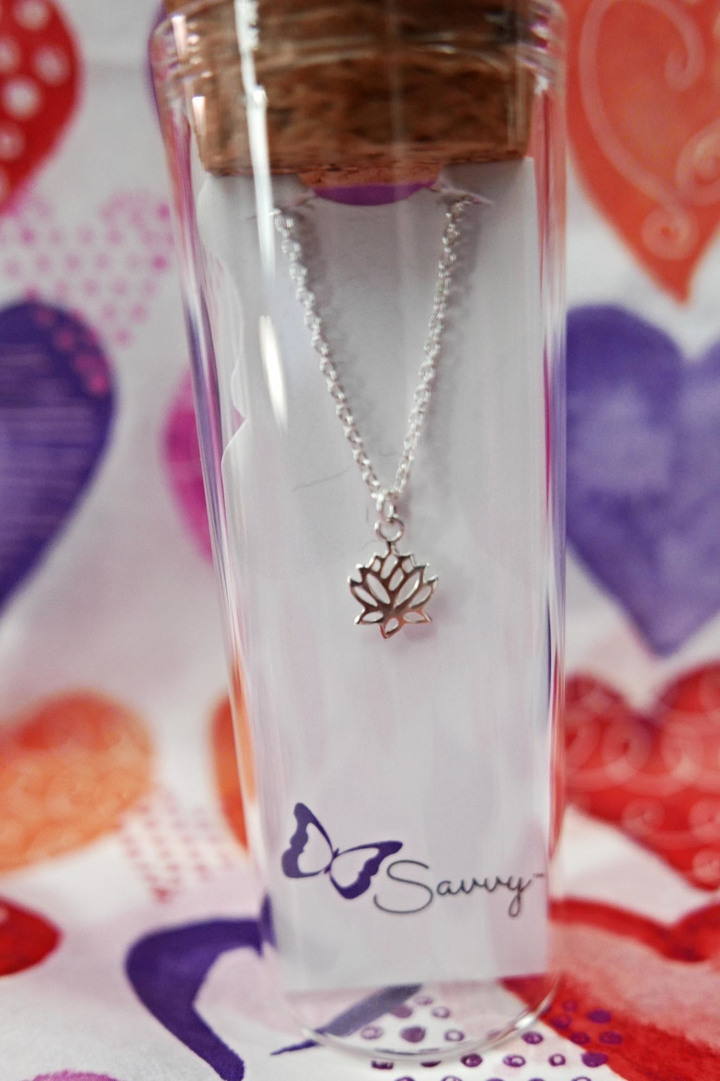 Savvy Designs Lotus Silver Necklace - Side Cropped Image