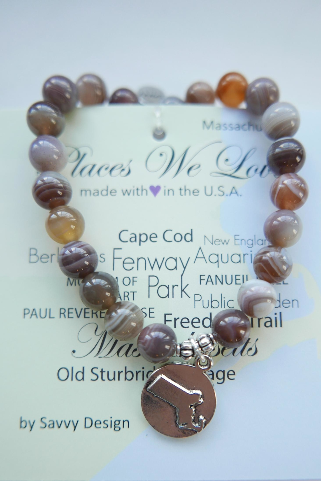 Savvy Designs Massachusetts Charm Bracelet(brown) - Main Image