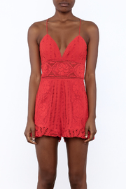Saylor Red Sleeveless Romper - Side cropped
