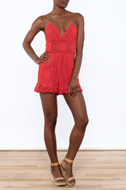 Saylor Red Sleeveless Romper - Front full body
