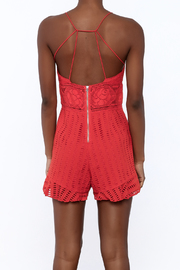 Saylor Red Sleeveless Romper - Back cropped