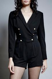 Saylor Black Buttoned Romper - Front cropped