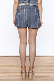 Saylor Cotton Stripe Shorts - Back cropped