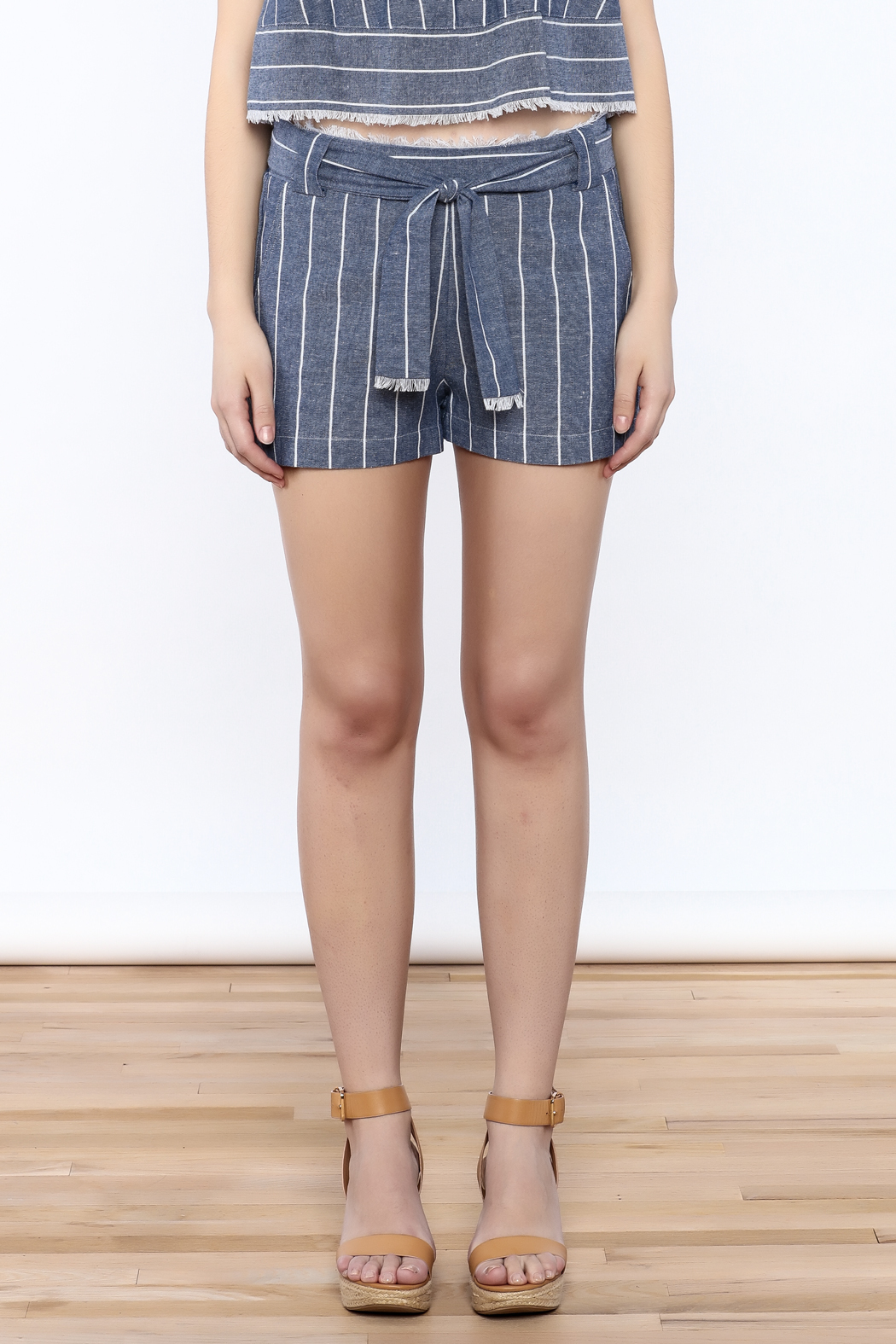 Saylor Cotton Stripe Shorts - Side Cropped Image