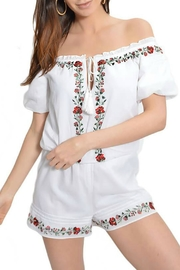 Saylor Floral Embroidered Romper - Product Mini Image