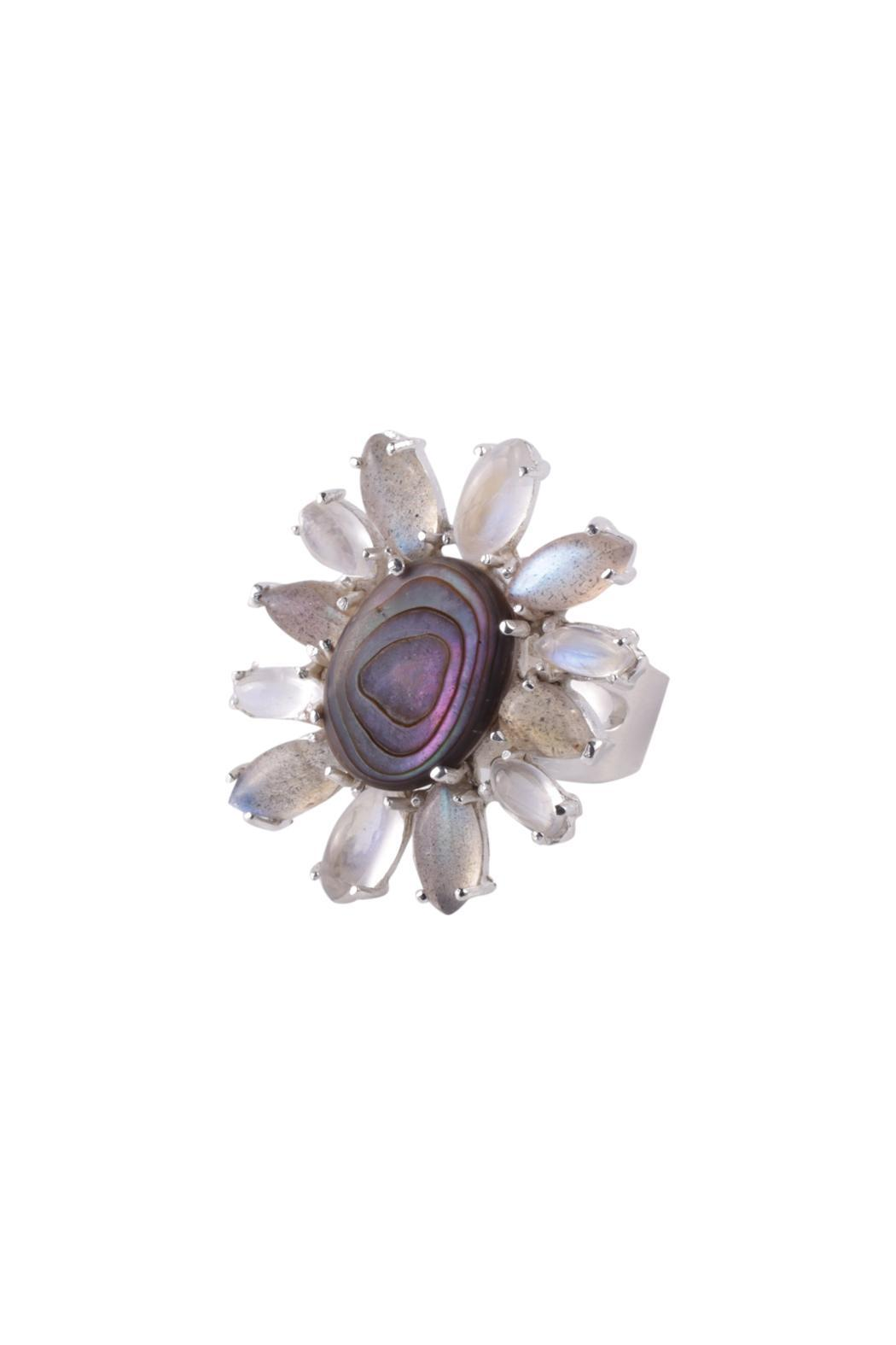 Sayulita Sol Jewelry Abalone Flower Ring - Back Cropped Image