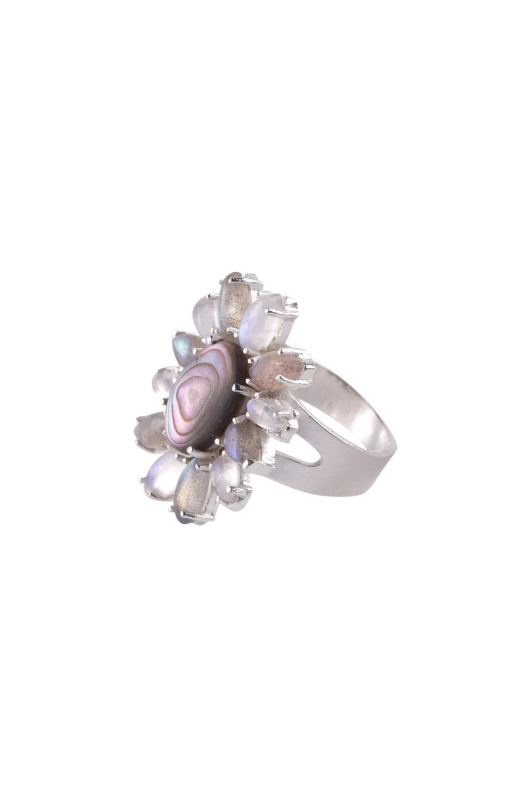 Sayulita Sol Jewelry Abalone Flower Ring - Side Cropped Image