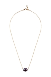 Sayulita Sol Jewelry Black-Pearl Gold Necklace - Front full body