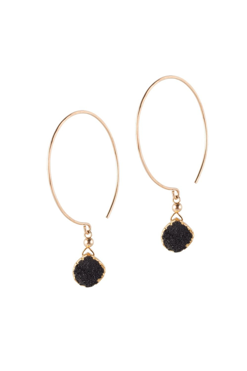 Sayulita Sol Jewelry Gold-Hoop Black-Druzy Earrings - Main Image