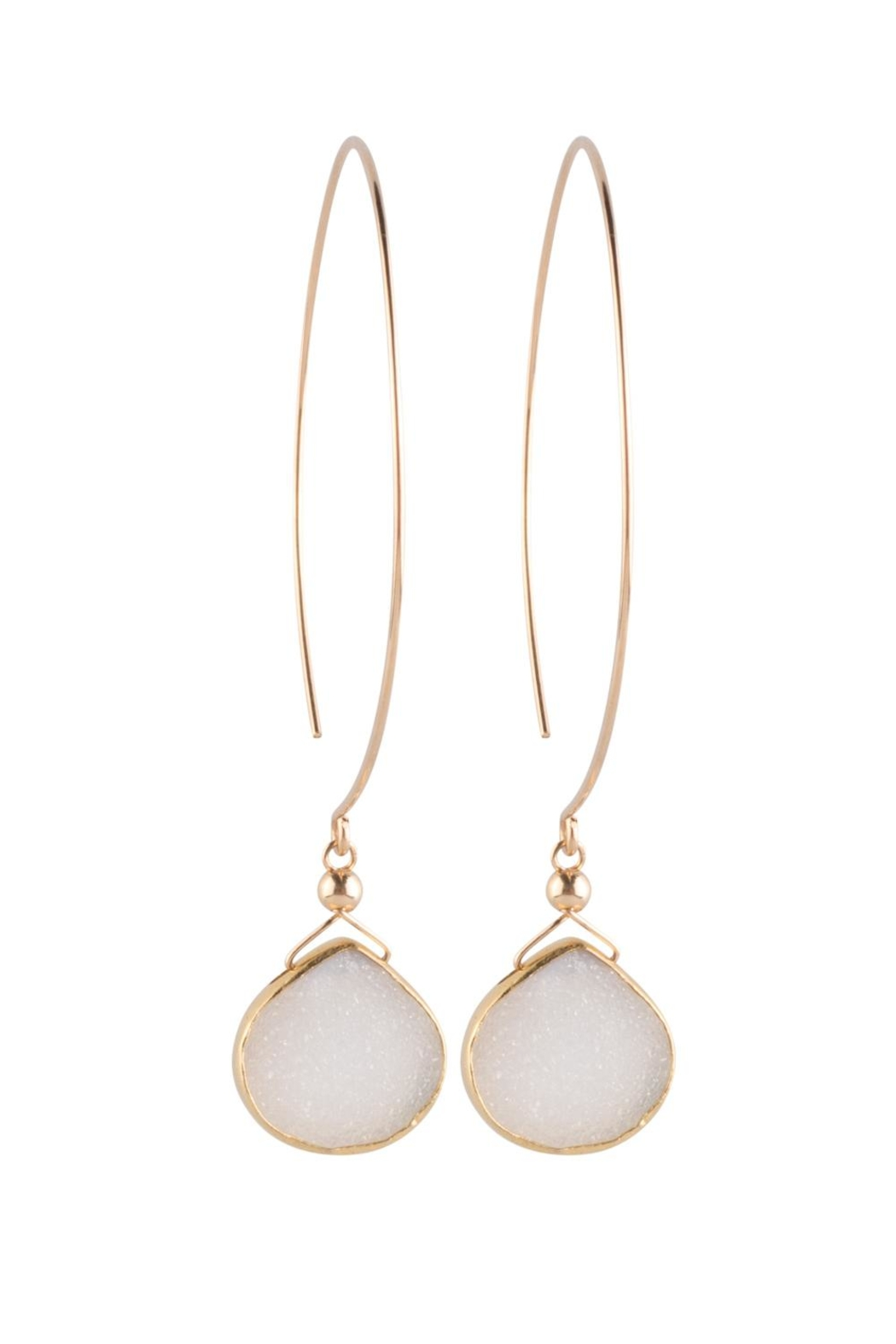 Sayulita Sol Jewelry Gold-Hoop White-Druzy Earrings - Front Cropped Image