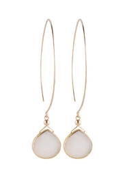 Sayulita Sol Jewelry Gold-Hoop White-Druzy Earrings - Product Mini Image