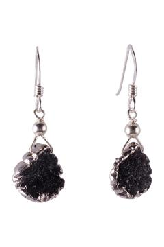 Sayulita Sol Jewelry Silver Black Druzy Earrings - Product List Image