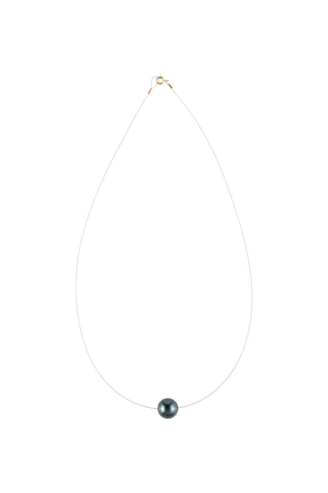 Sayulita Sol Jewelry Swarovski Black Pearl Necklace - Front Cropped Image
