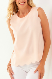 Charlie Paige Scallop edged Slvls Top - Front cropped