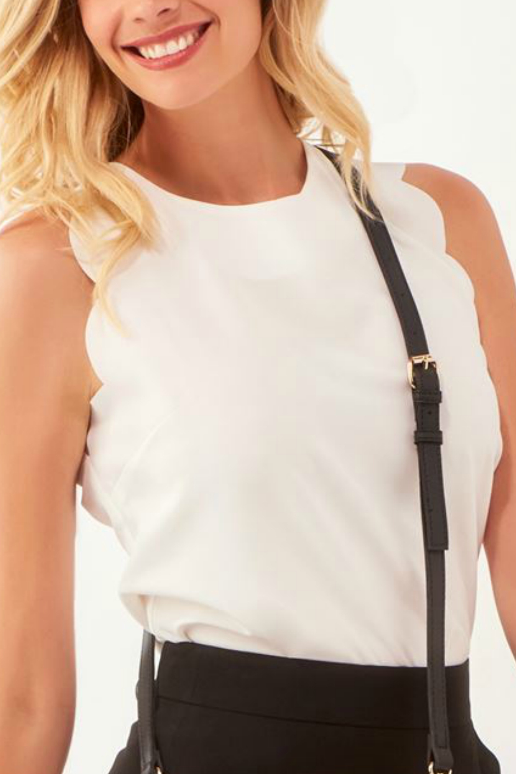 Charlie Paige Scallop edged Slvls Top - Front Cropped Image