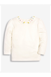 JoJo Maman Bebe Scallop Flower Top - Cream Flower Embroidery - Product Mini Image
