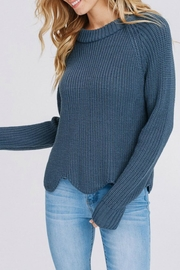Papermoon Scallop-Hem Denim Sweater - Product Mini Image