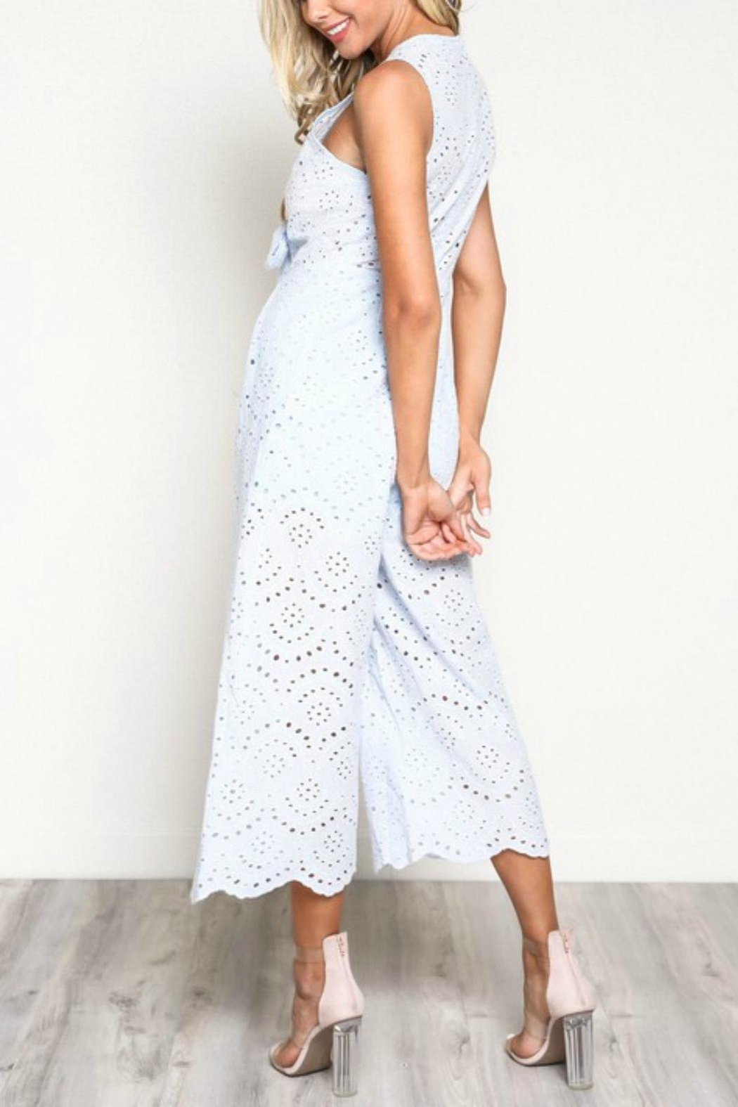 Pretty Little Things Scallop Lace Jumpsuit - Front Full Image