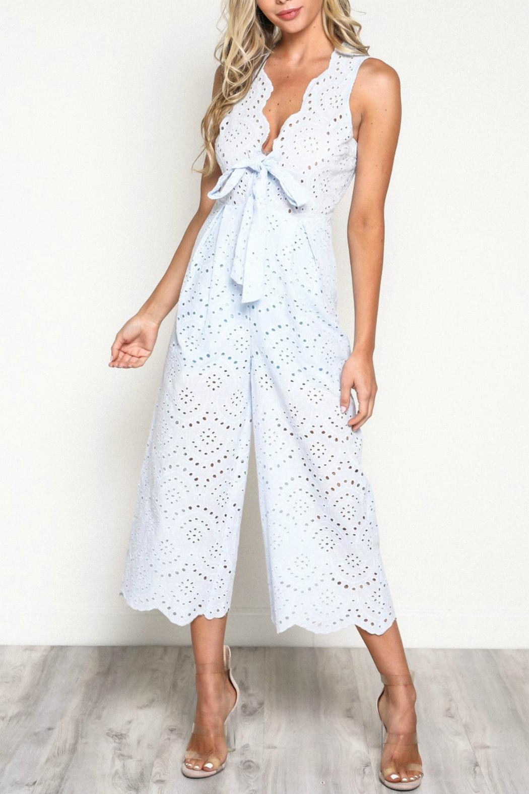 Pretty Little Things Scallop Lace Jumpsuit - Front Cropped Image