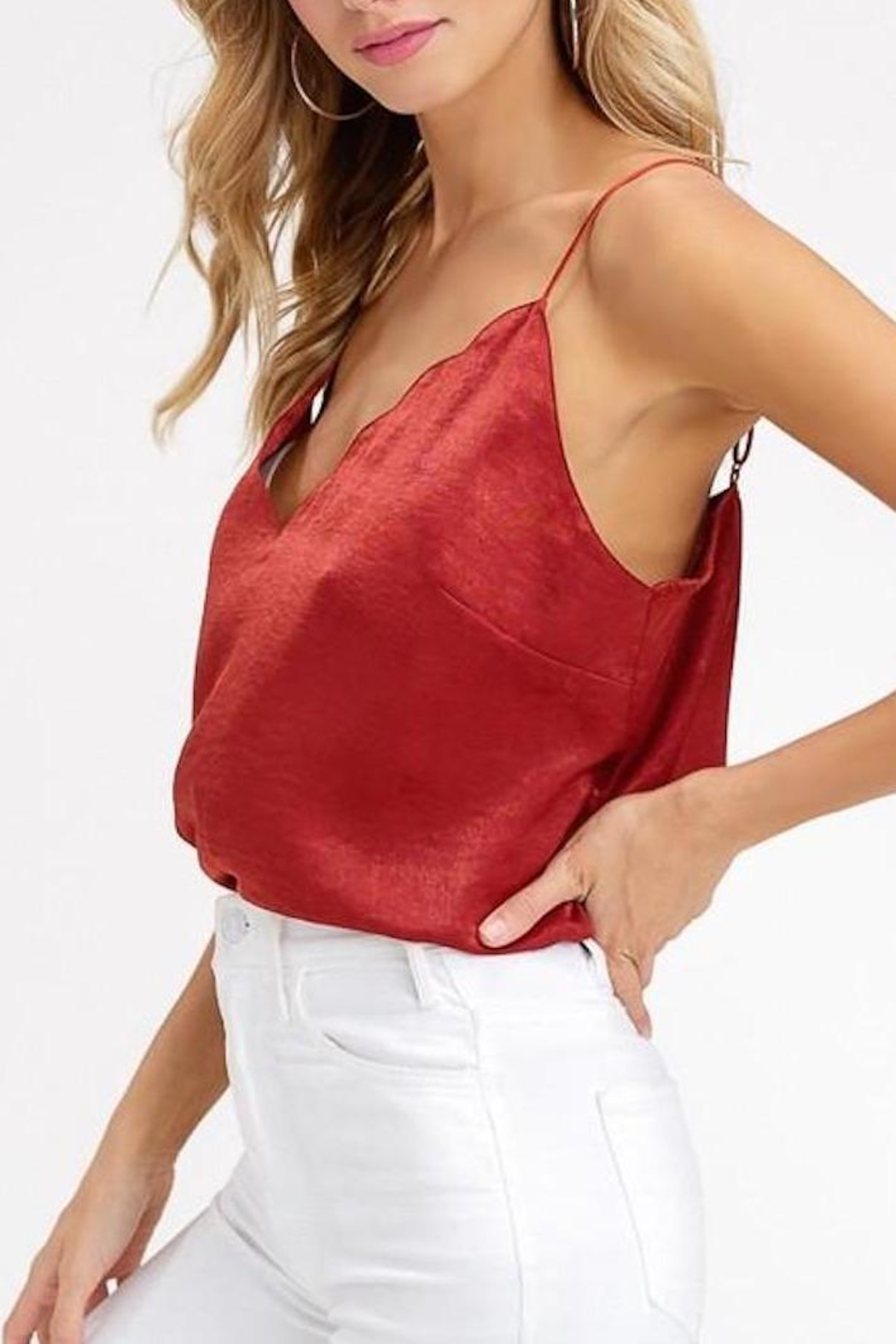 Listicle Scallop Neckline Cami-Top - Side Cropped Image