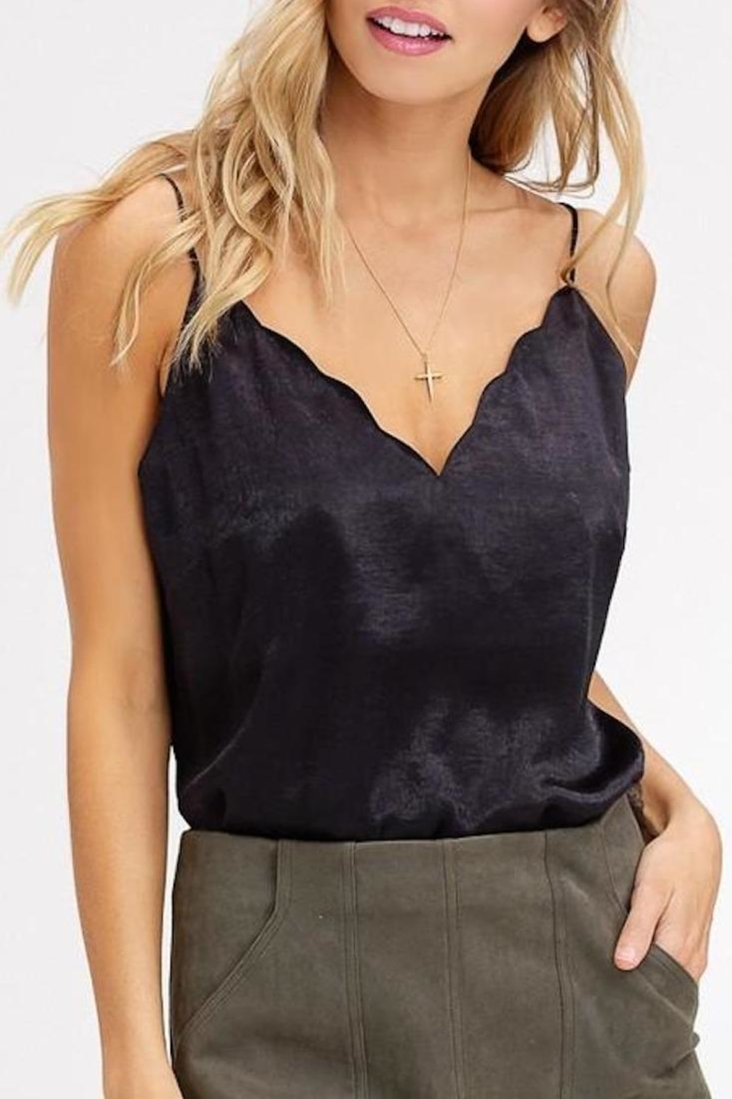 Listicle Scallop-Neckline Cami Top - Front Full Image